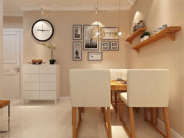 餐厅是现代简约的完美体现。客厅的沙发现代布艺的材质,高端大气。电视墙根据女主人的需要,则放置了一个现代电视柜子,方便储藏东西,又丰富客厅需要。