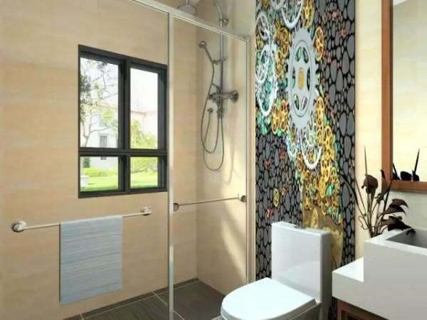 长方形的卫生间会显得空间比较大。所以在设计时去掉一些复杂的结构,这样视觉效果比较明亮。在坐便后面仿花纹墙砖,调皮的色彩显得时尚别致。淋浴房是如今比较流行的干湿区分处理,简单又实用。