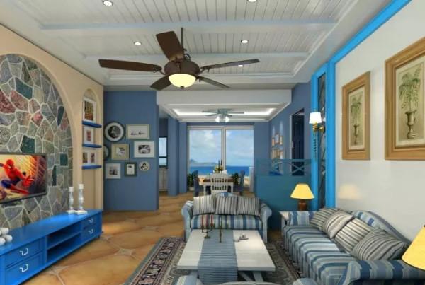 随性又优雅和整个房间的地中海风格相得益彰的同时,给房间设置了一个小小的亮点,让整个客厅的设计有了重心。
