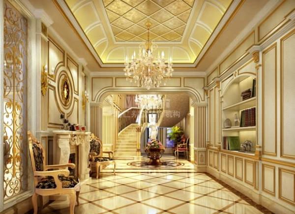 门厅洛可可风格讲究装饰空间的对称性,门厅处金箔的吊顶彰显了空间的气势,地面由高贵的西班牙米黄和深啡、浅啡的理石拼贴而成,与顶面的菱形图案相呼应。