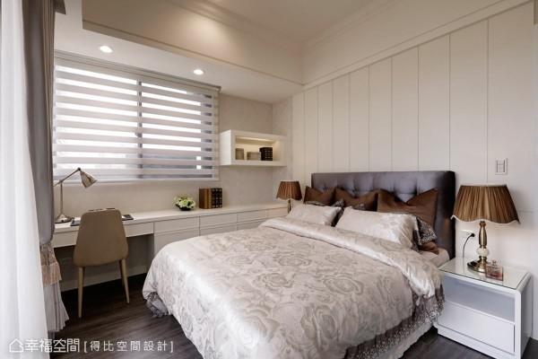 特别将矮柜与书桌结合,水平一致的高度让视觉达到延伸的效果,进而放大空间感。