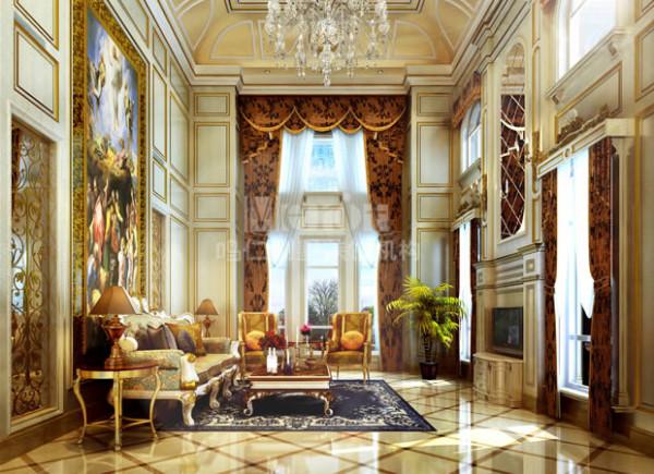 一进入客厅,立刻被一种神圣而高雅的气质所吸引,仿佛置身十八世纪的欧式殿堂,多顶面穹顶的造型和大幅的彩绘壁画,搭配奢华的水晶大吊灯,给人梦幻般的浪漫感受。