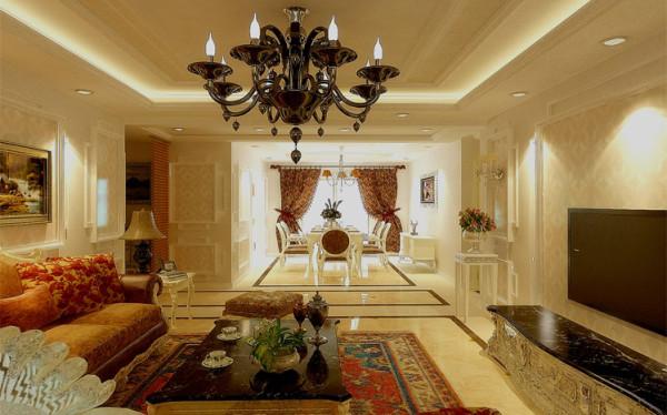 本设计案例主要以亮丽的色彩和各种饰线来充实点缀,客厅内家具摆放简洁却不单调。