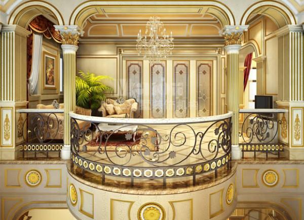 起居室的装饰延续了客厅的经典风格,它既是客厅的一个延伸,又是连接两个楼层的窗口。二层挑台的两侧采用了代表古希腊建筑风格的科林斯柱头,在古罗马时期,这种柱头是贵族阶层身份与地位的象征。