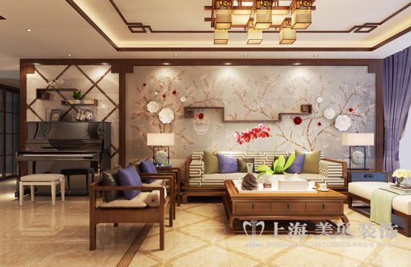 升龙广场146平四室两厅新中式装修效果图——沙发布局