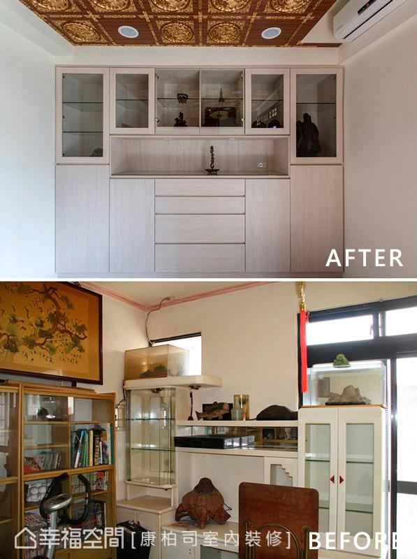 神明厅的天花板使用造型气派的龙凤板,其立体的浮雕纹路让空间更具主题性。