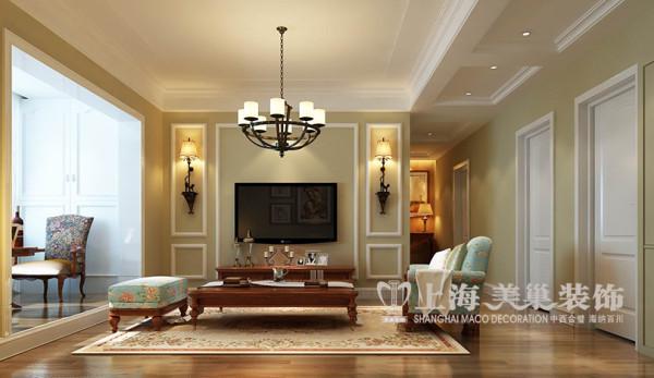 非常国际115平三室两厅装修美式乡村案例