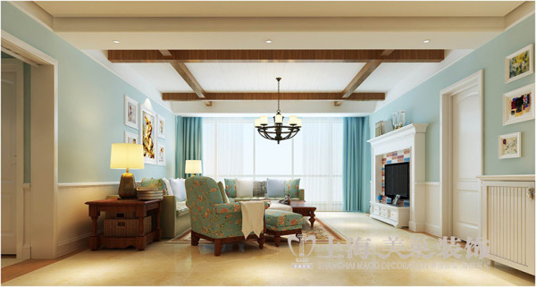 亚太明珠美式乡村装修效果图170平居室三室两厅设计