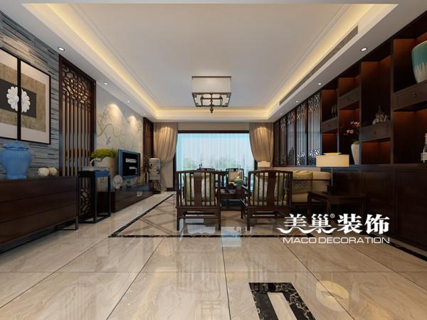 裕鸿世界港190平三室两厅装修新中式效果图