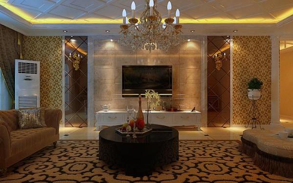 客厅作为待客区域,以黄色为底,大理石背景墙搭配,加上吊灯的呼应,体现浓厚的欧式风格。