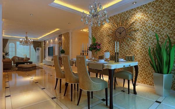 餐厅:在材质选择上多倾向于较硬、光挺、华丽的材质。客厅的面积较大,操作方便,功能强大。餐厅的多功能还体现在家庭内部的人际交流多在这里进行,这两个区域会同起居室连成一个大区域,成为家庭的重心。