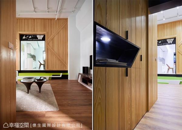 以木纹打造鞋柜机能,并结合展示台面,可用以陈列装饰品或是随手摆放生活小物。
