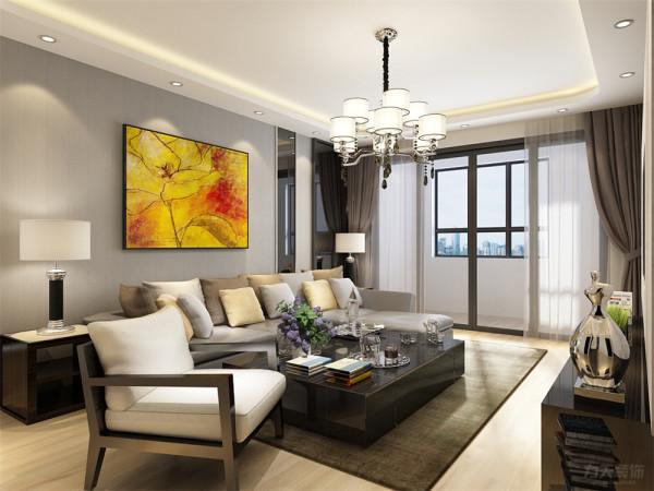 沙发背景墙采用浅色壁纸配合亮黄色挂画