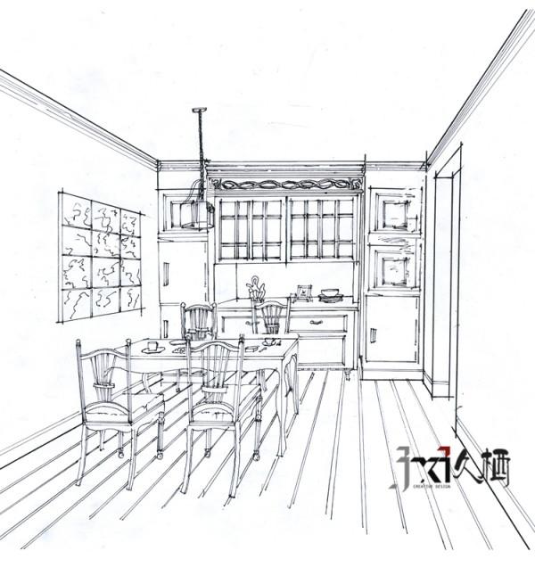 餐厅设计手绘效果图