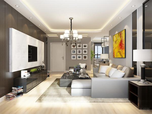 地面采用浅色复合实木地板,顶面为回形吊顶,沙发背景墙采用浅色壁纸配合亮黄色挂画