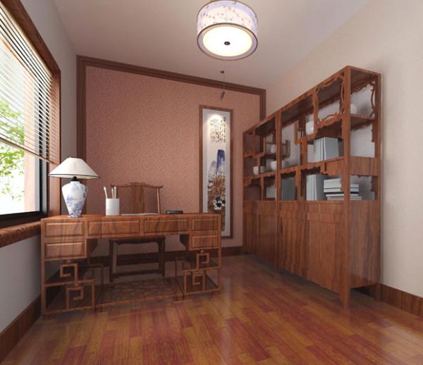 主景回纹的中式墙纸北河精美的家具摆设大方得体,博古架上摆设业主喜爱的饰品及书籍,墙上挂着大师的作品,在此阅读一篇,心境开阔。