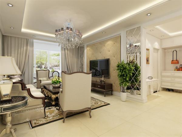 欧式客厅非常需要用家具和软装饰来营造整体效果,色彩大气的布艺沙发,是欧式客厅里的主角。