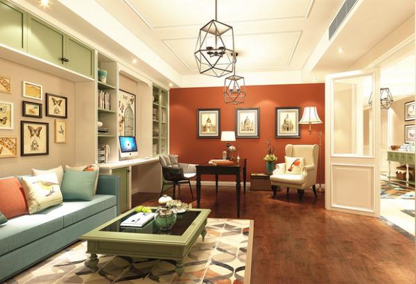 延续整体设计风格,书房中朱红色的墙面搭配三幅挂画,表达着展陈艺术美;书柜清新淡雅的色泽与沙发、地毯茶几和谐共存,清爽唯美