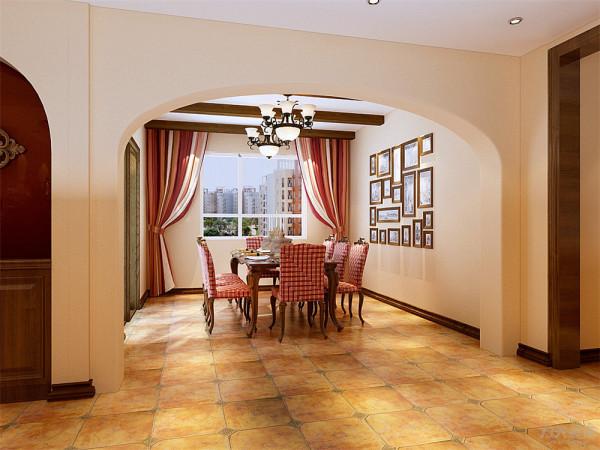 餐厅处我们用的是简单地美式田园的6人餐桌,加上一个照片墙的组合,顶面我们用生态木做成了3根长方形的木条