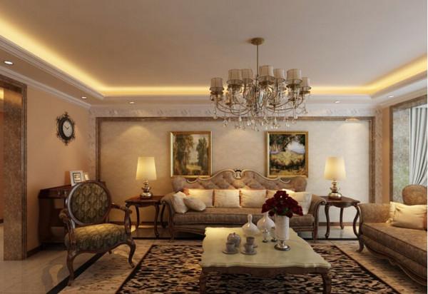 理石和墙纸结合的墙面,展现了欧式风格的高端的视觉享受,浅色的地砖让室内更加明亮,深色的家具让空间更加的沉稳。