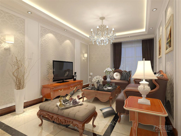 电视背景墙和沙发背景采用欧式花纹壁纸,墙面采用暖色墙漆及挂画装饰