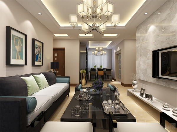 布艺的沙发为空间增添温暖简洁干净的气息,沙发两侧分别有一个沙发柜,放置了台灯,便于业主夜里可以防止磕绊摔倒,也可以放些随身的小物件