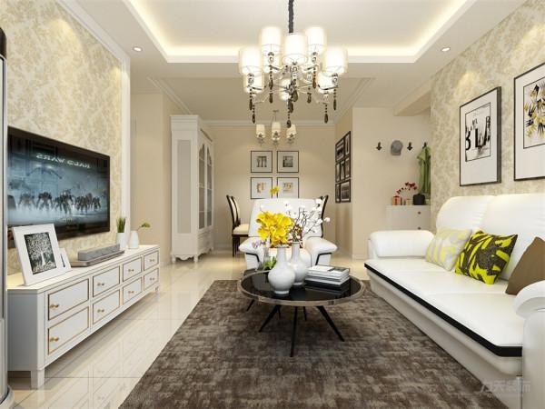 沙发背景墙用一组时尚的挂画装饰。电视背景墙带有简单的造型,用简单的石膏线围着墙面一圈,内嵌壁纸