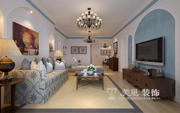 逸泉小区装修设计地中海风格两室两厅120平居室设计