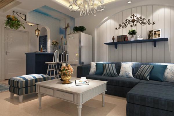 深蓝沙发搭配灰白色茶几,将客厅烘托出静谧闲适的海滩风光,清新绿植恰到好处的点缀了空间活泼之感。