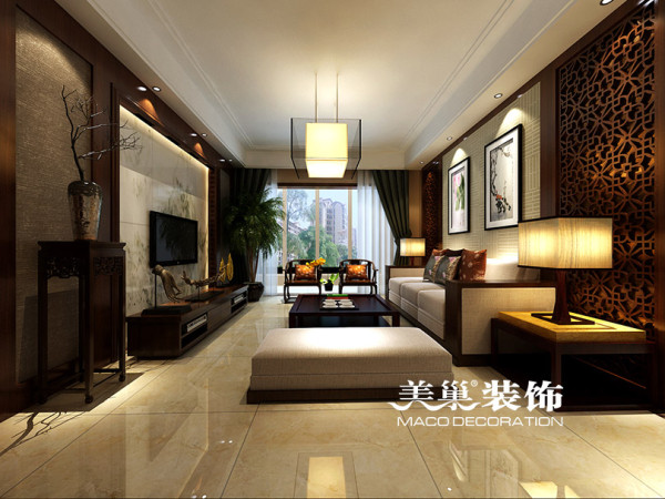 世和小区125平三室两厅装修新中式效果图