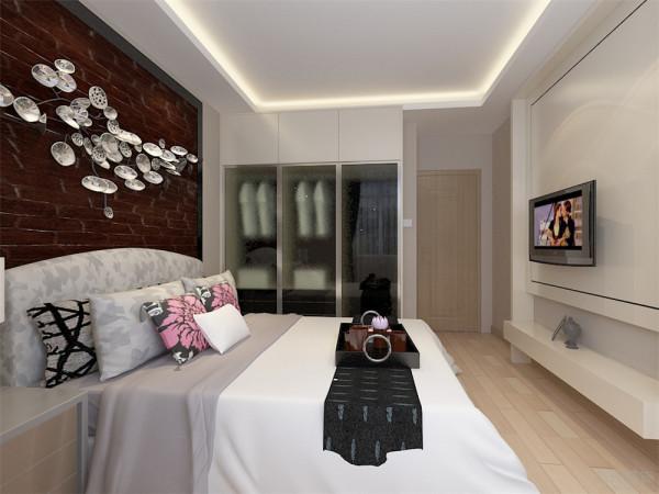 床头柜、衣柜满足了业主储物空间的需求,整体设计简洁温暖区域结构分明和谐放松,采用浅色调更加能够使业主放松休息更加舒适。