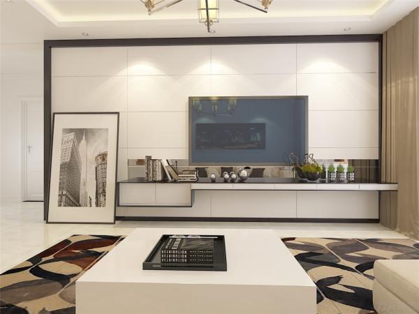 电视背景墙做的石膏板拉缝,与收边,黑白相间的电视柜与色彩感觉丰富的地毯形成鲜明的对比,金属材质几何状态的吊灯丰富了空间
