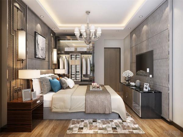 床头背景墙为实木板材,使整个空间更加有时尚感
