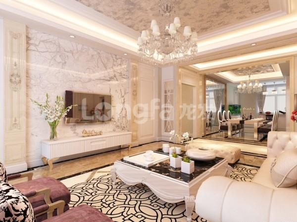 电视背景墙石材的罗马柱和石材的电视墙简洁大气突出豪华感。