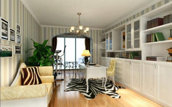 设计理念:竖纹的墙纸加上斑马纹的地毯使书房除了安静还多了个性。