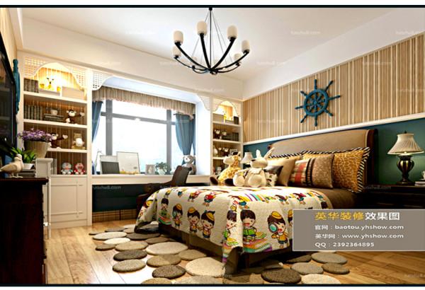 一个富有童话色彩的空间。书柜及书桌定制一体增加空间的有效利用及情趣,房间色彩的装饰,让孩子爱上自己的房间。