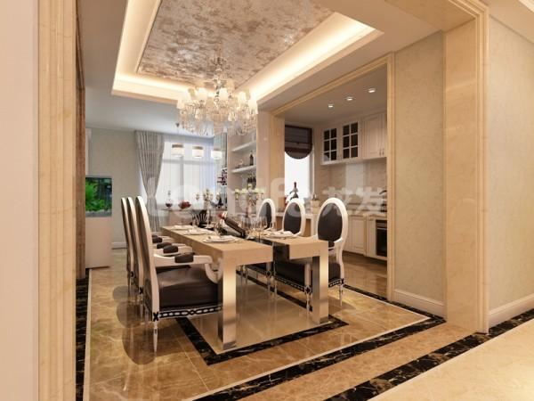 餐厅根据空间摆放了6凳餐桌,用地面和顶面划分区域。 厨房做的是开放式厨房,整体色调为白色