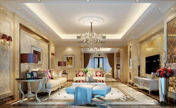 舍弃了繁琐复杂的欧式符号却延承了它的大度和精致,客厅里浅色的大理石配上华丽的大尺寸水晶吊灯,精心选购的家具和软饰配置的搭配,都使这个家浸透出一种稳重华贵的气质。
