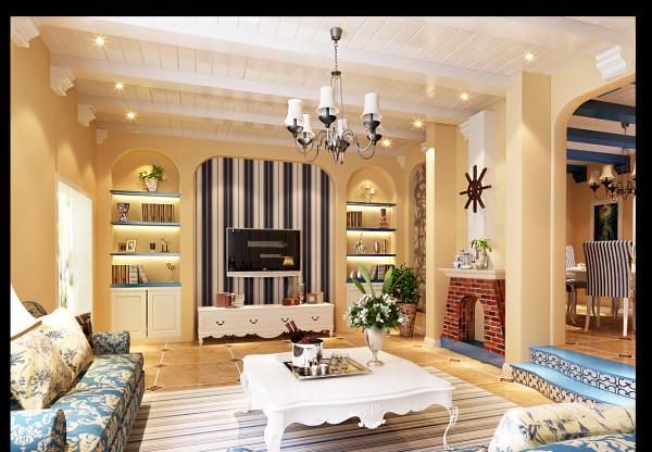 """生活家装饰--CBD专家公寓220平米复式地中海风格客厅装修效果图 时代的快速脚步,让生活的节奏总在""""提速"""",喘息越来越急促,语速越来越快,只剩下一方净土——就是带给自己安慰与放松的家。"""