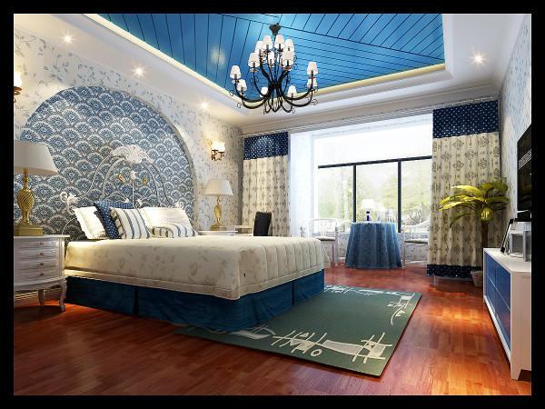生活家装饰--CBD专家公寓220平米复式地中海风格卧室装修效果图