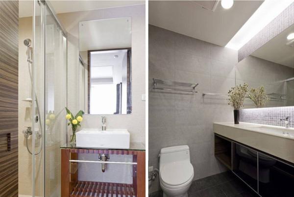 主卧卫浴设计于更衣室内,以浅色搭配柔和的照明,让小空间干净清爽。