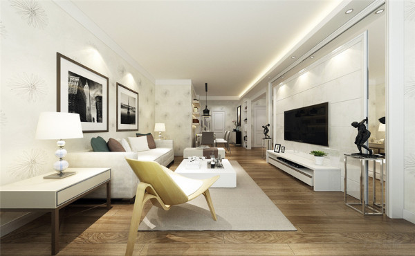 在客厅的设计中,电视背景墙做了镜面的处理,让空间和采光显得更明亮,更大,整体的色调颜色也偏暖。