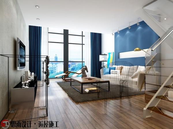 客厅整体设计就像一副出彩的油画,蓝色的运用使得整个客厅空间显得很空灵,想必业主身处其中会有种在蓝天云端生活的感受吧~大大的落地窗给客厅带来充足的采光