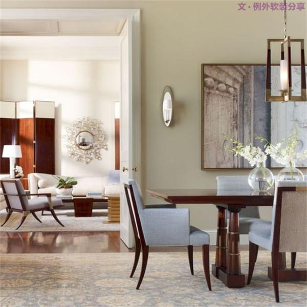 在餐桌不使用的时候,上方的花瓶往往起到很好的装饰效果,选择色彩较鲜艳的鲜花装饰瓶身,可以增进人的食欲。