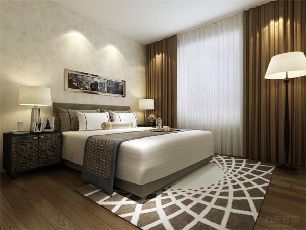 在卧室的设计中,同样没有过多繁杂的造型,在床头背景墙上,同样只是挂画做了装饰,整体的色调和客厅相符合,偏暖,没有更多的刺激性,让业主回到房间后,回到家后能感觉到一种放松,温暖的感觉。