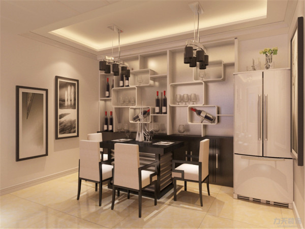 在餐厅的设计中,采用了黑白的餐桌椅搭配黑白的餐灯。白色和明亮玻璃的结合创造出了现代的洁净与明亮
