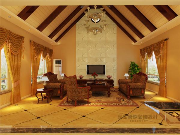 客厅的重点在于电视墙和吊顶造型的结合,电视背景墙的砂岩和吊顶木作的硬感搭配的大气。