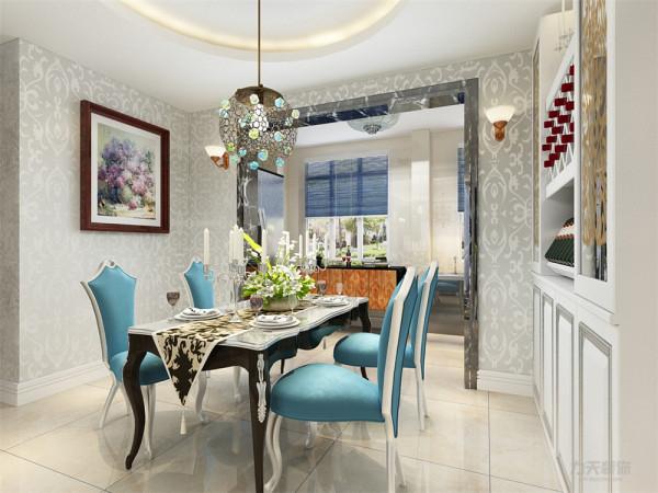 墙体采用欧式花纹壁纸,餐厅与客厅相对,墙壁运用了壁画,空间宽阔,令用餐者心情愉悦。