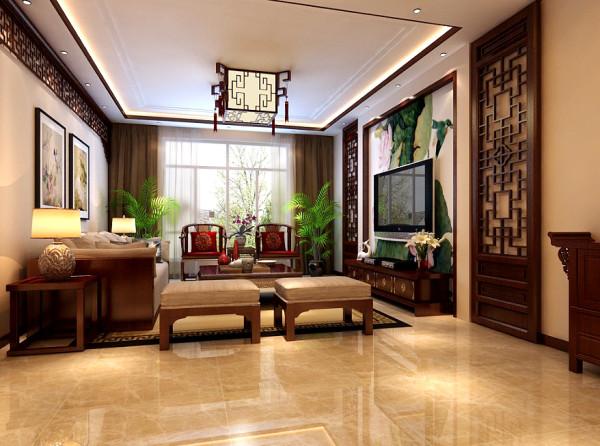 生活家装饰--融科钧廷135平米中式风格餐厅装修效果图 客厅的设计上更多的运用了,线与面的相结合,面与面的相偏移来塑造空间的层次感。电视背墙的设计,使中式韵味达到顶点,与壁画的搭配使得整个空间轻盈,飘逸。