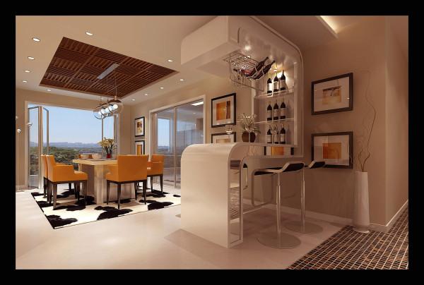生活家装饰--中广宜景湾160平米现代风格餐厅装修效果图